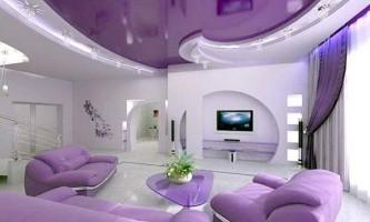 Дизайн натяжных потолков в зале