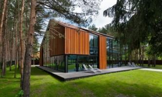 Дом из дерева и стекла в каунасе