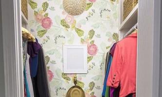 Гламурная женственная гардеробная комната: до и после ремонта