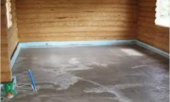 Монтаж бетонного и заливного пола в деревянном доме