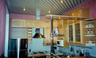 Реечные потолки в кухонном интерьере