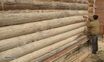 Шлифовка бревенчатого дома своими руками
