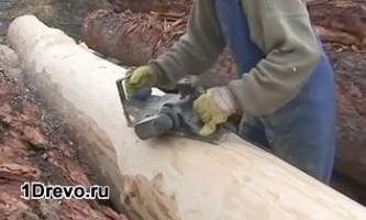 Строительство деревянной бани из оцилиндрованного бревна